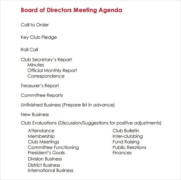 Agenda Word Amusing Board Meeting Agenda Templates  10 Printable Word Excel & Pdf .