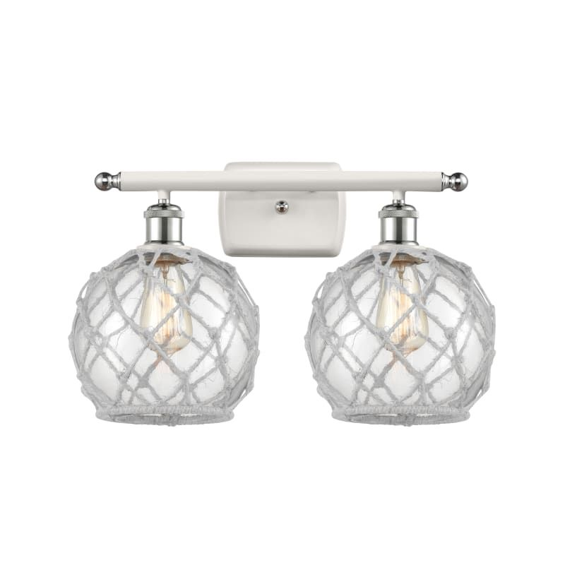 "Photo of Innovations lighting 516-2W farmhouse rope farmhouse rope 2 lights 16 ""wide bathroom white and polished chrome / clear glass interior lighting bathroom"