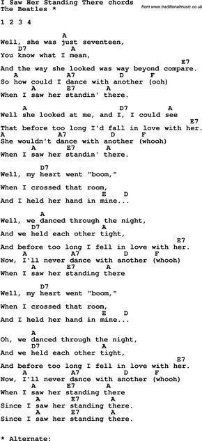 Song Lyrics With Guitar Chords For I Saw Her Standing There