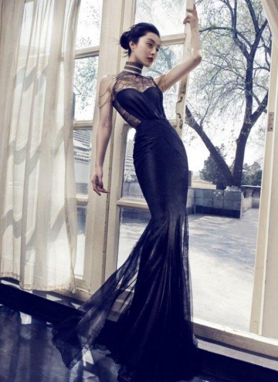 47c4d2b044  SocialblissStyle  model  editorial  fashion  Asian  beauty  black  dress   gown  pose
