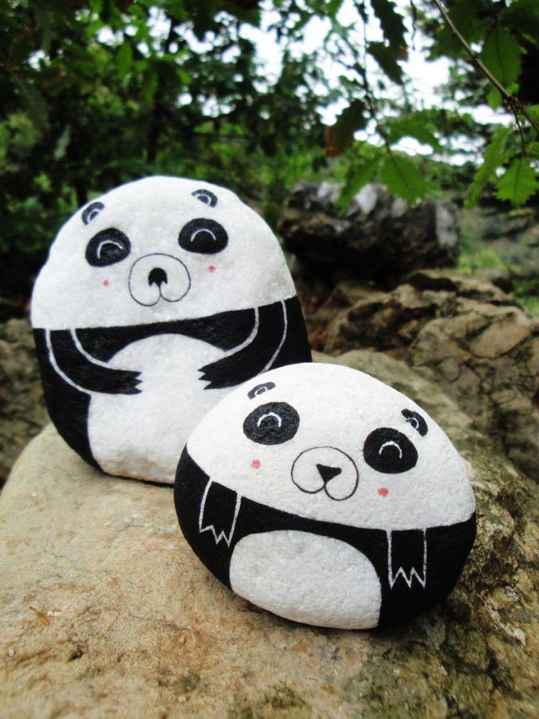 Panda Dad Irene Fenollar Boyali Kayalar Pet Rocks Sanat