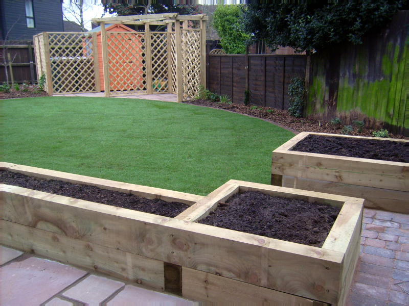 Garden designs with raised beds google search raised for Garden designs with railway sleepers