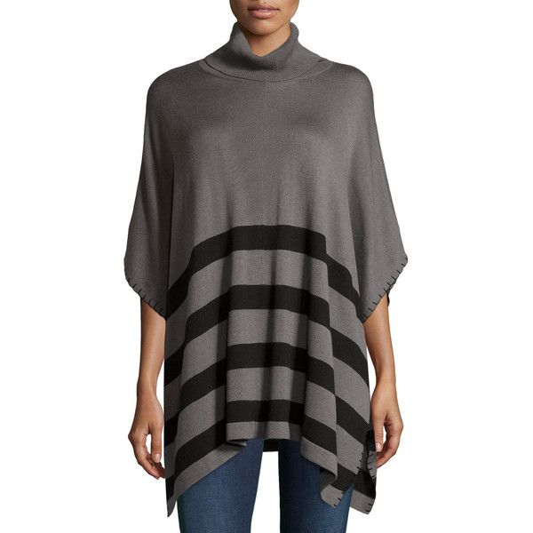Neiman Marcus Striped 3/4-Sleeve Cowl-Neck Poncho featuring polyvore, women's fashion, clothing, outerwear, artist gra, pullover poncho, print pullover, cowl neck poncho, poncho pullover and cowl neck pullover