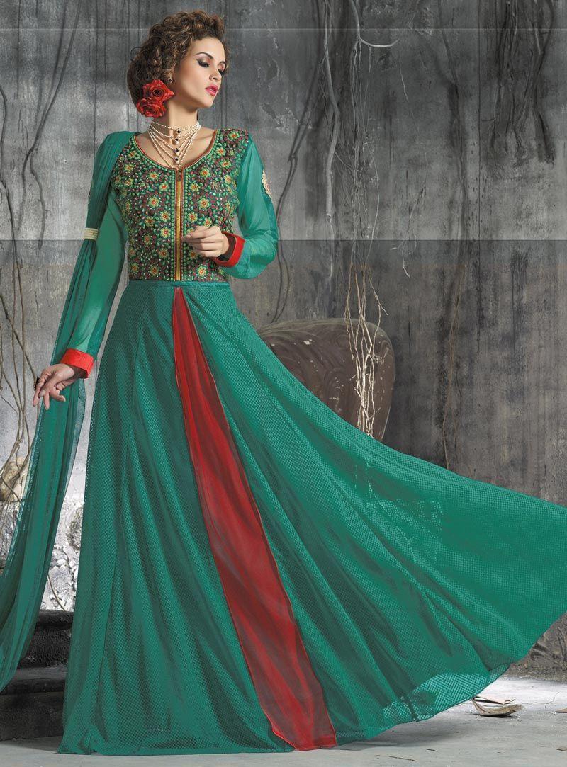 Green Net Designer Gown 86710 | Designer Party wear Gown ...
