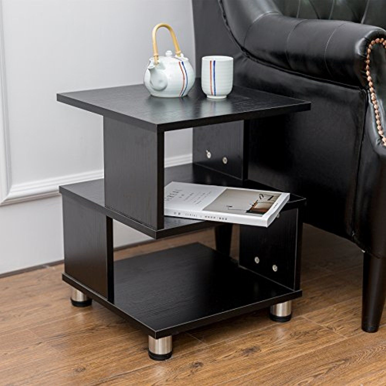 Alva House Black Finish Chair Side Table End Table Coffee Table With 3 Tier Shelf Black You Can Find More Details With Images Chair Side Table Furniture Coffee Table