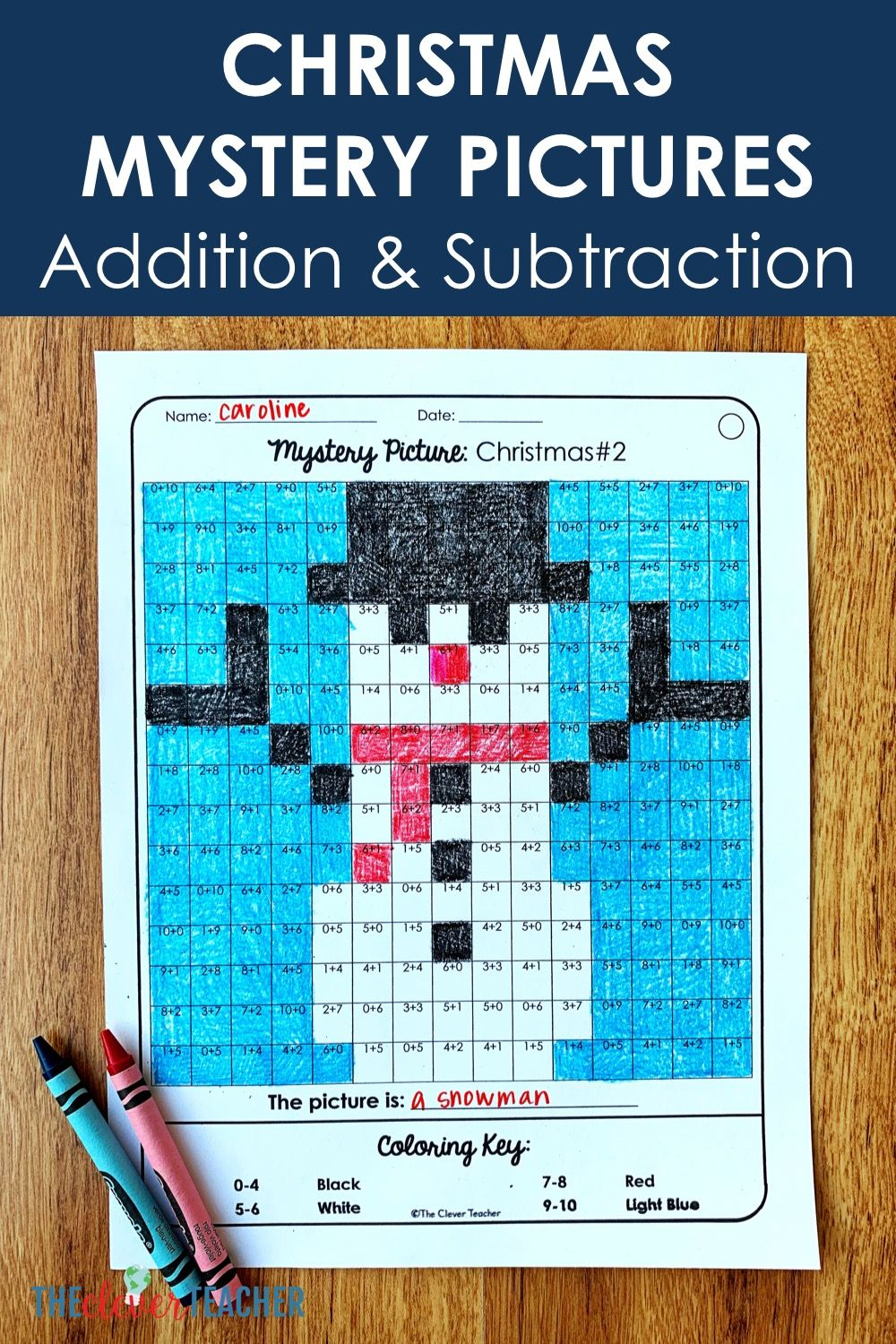 hight resolution of Christmas Mystery Pictures Addition \u0026 Subtraction Math Facts   Addition and  subtraction