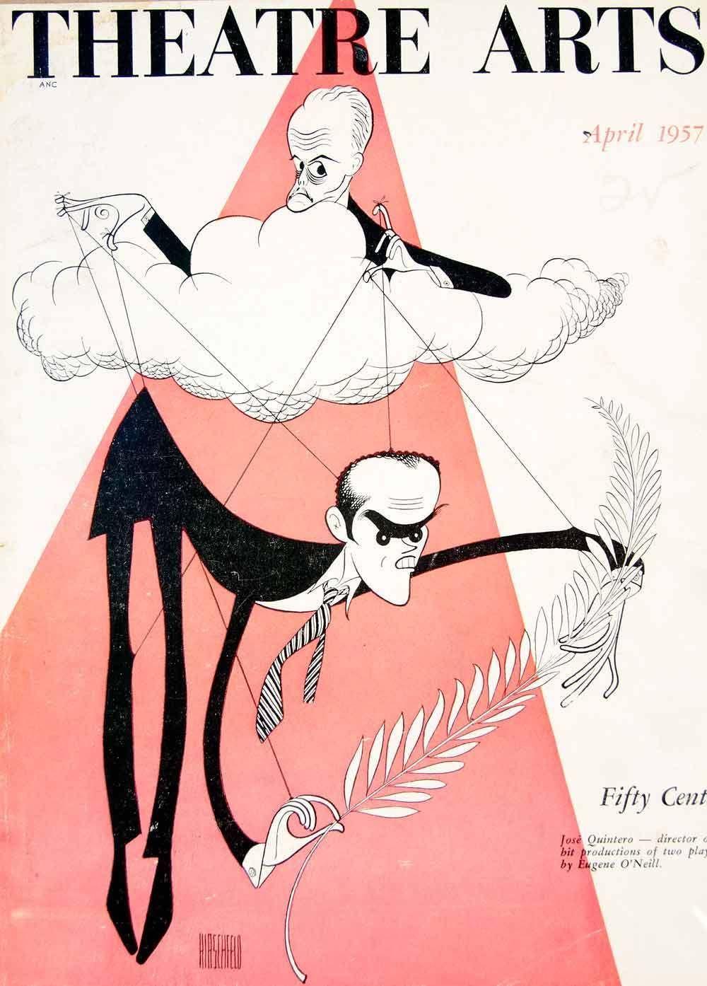 """Al Hirschfeld ~ Eugene O'Neill and Jose Quintero on the cover of """"Theatre Arts"""" magazine"""