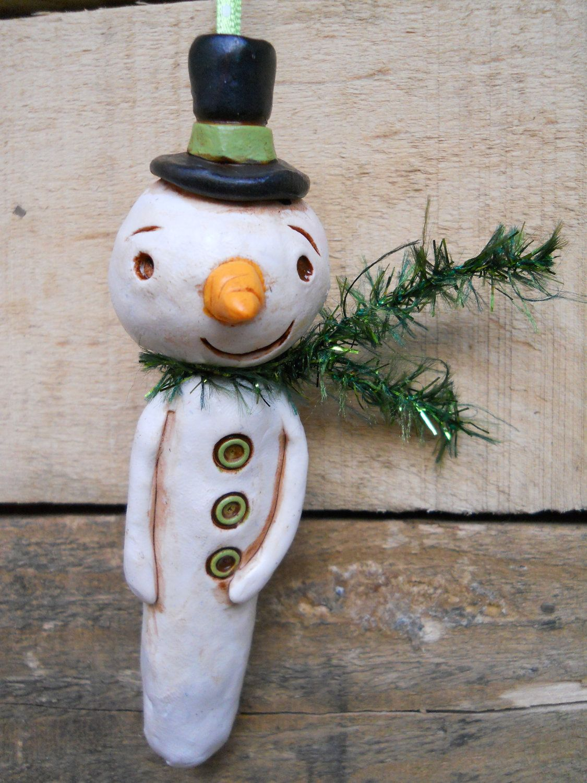 Green Frosty Snowman Christmas Ornament. $15.00, via Etsy.
