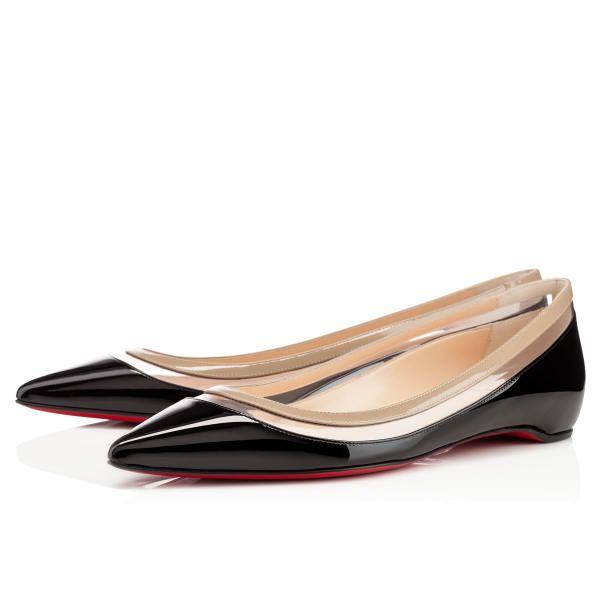Appealing Christian Louboutin Paulina Flat Black Beige Patent Leather  Ballerinas Flats HU871 Shoes