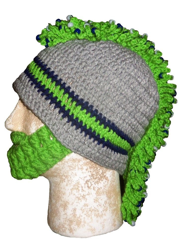 8b8b83b6737 SEATTLE SEAHAWKS HAT WITH DETACHABLE BEARDS   MOHAWKS   BRAIDS  Handcrafted   SeattleSeahawks
