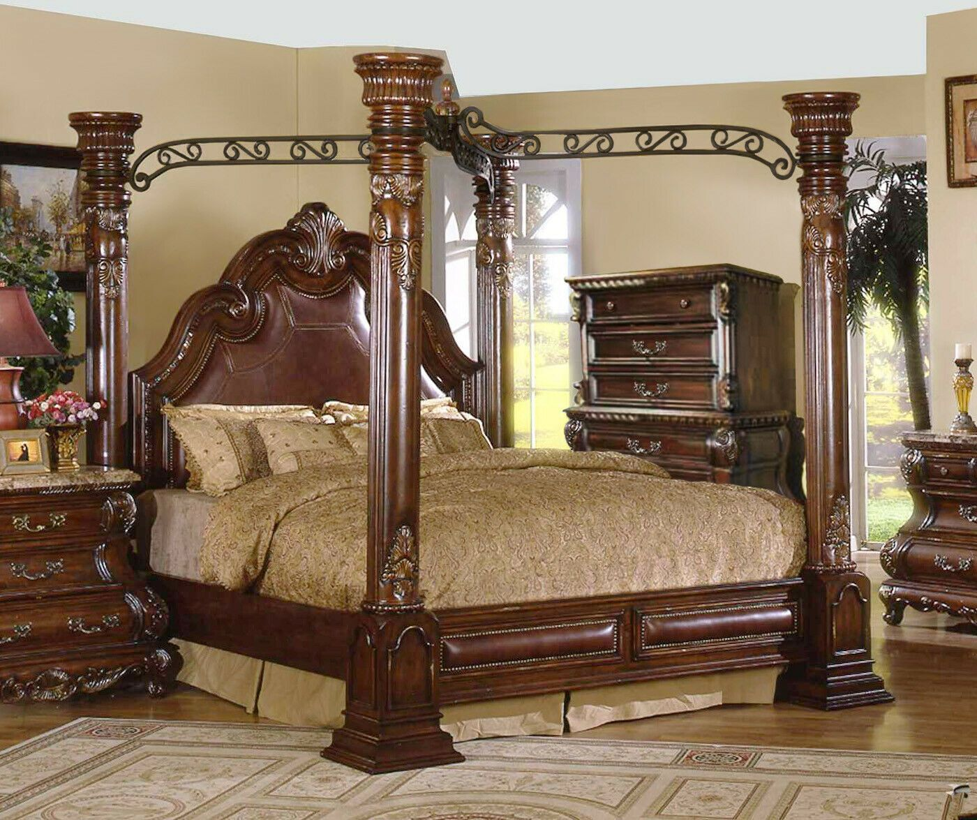 traditional luxury king leather poster canopy bed  chest