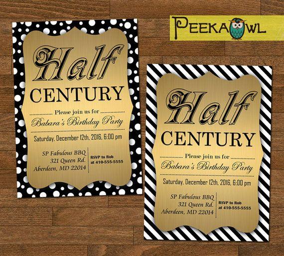 Printable Funny Half Century Birthday Invitation Card By PeekaOwl