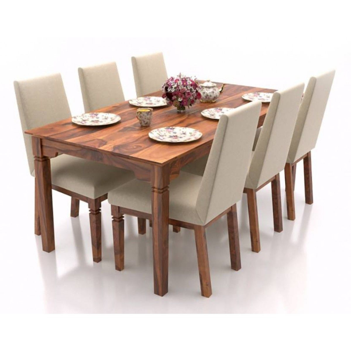 Malabar Xl With Brass Inlay 6 Seater Dining Table Set 6 Seater