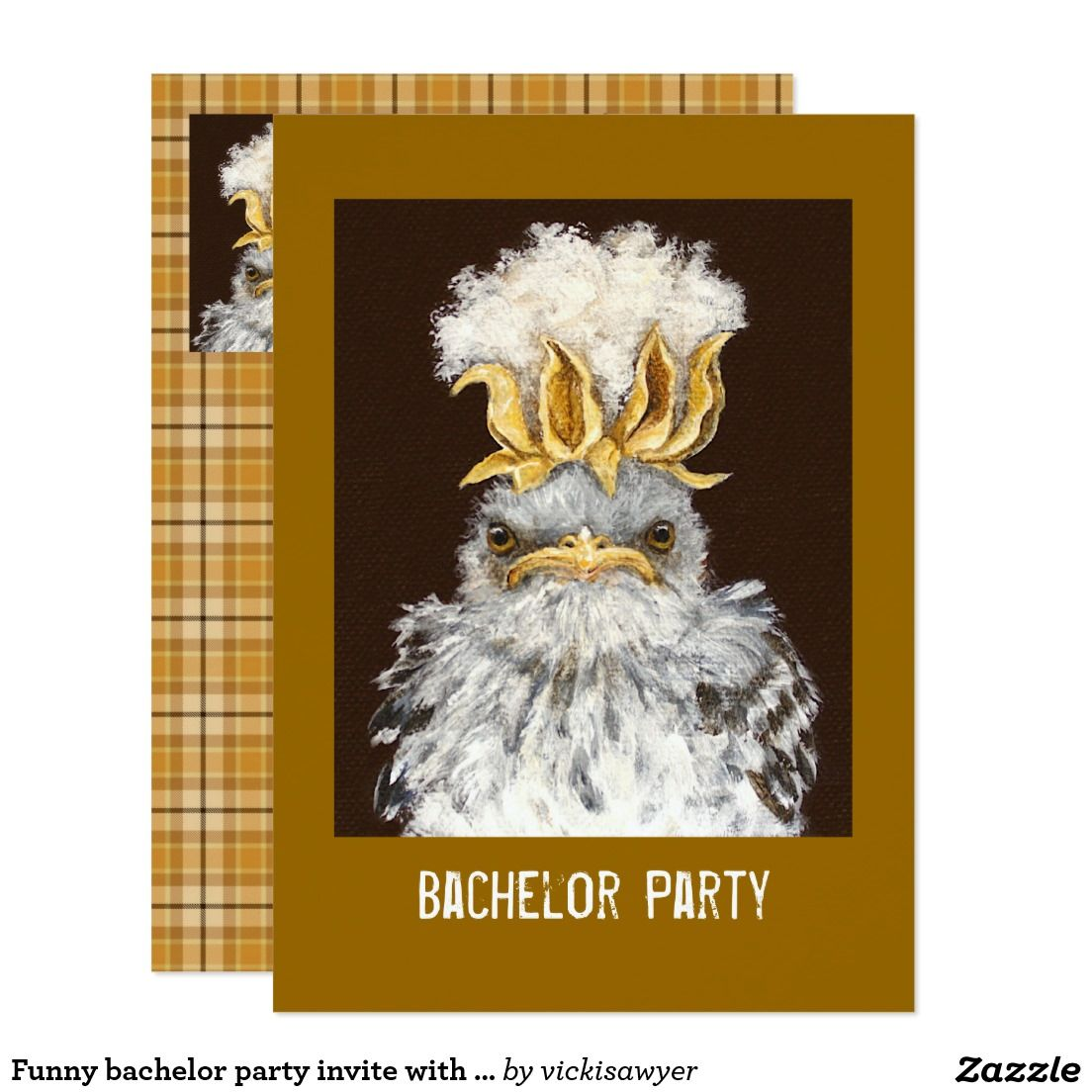 Funny bachelor party invite with plaid | Bachelor Party Invitations ...