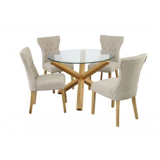 Optro Solid Oak Glass Top Dining Table With 4 Dining