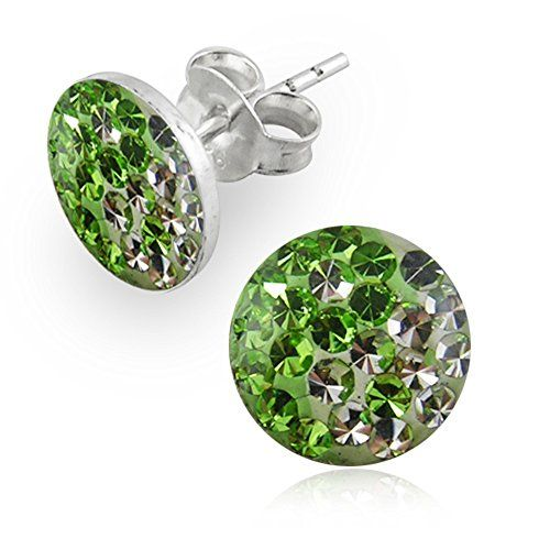 afd00ccd1 Light Green Yin Yang Multi Crystals Stone 925 Sterling Silver Stud Earring  ** Read more