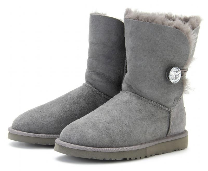 680f1e1e0b8 Grey UGGS with rhinestone button, sparkly UGG logo These are the ...