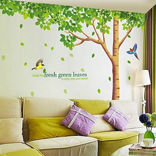 Green Tree Bird Wall Decal Stickers Vinyl Art Wall Home Office Bedroom DIY