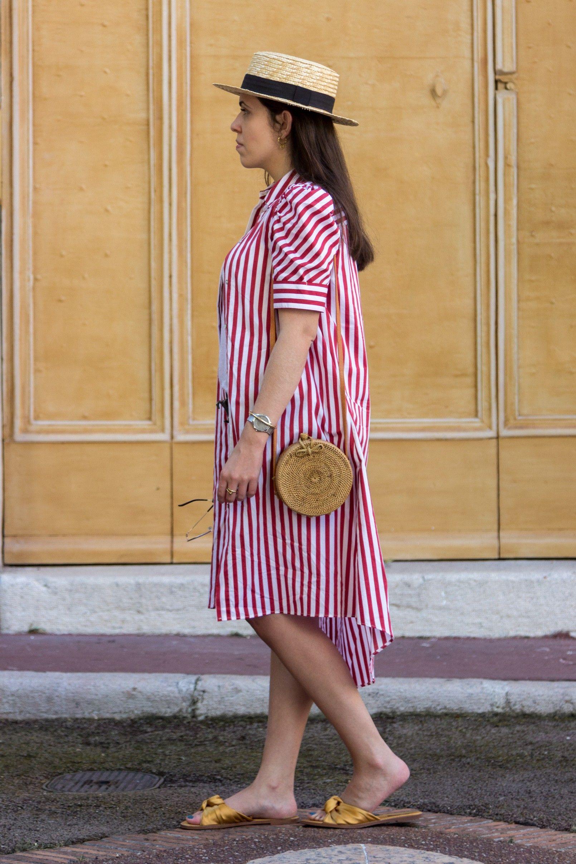 3e76eeda53d red white stripes zara dress dark yellow satin zara slides round rattan  straw handmade bag straw black ribbon stradivarius hat 7991 EN 805x1208  photo