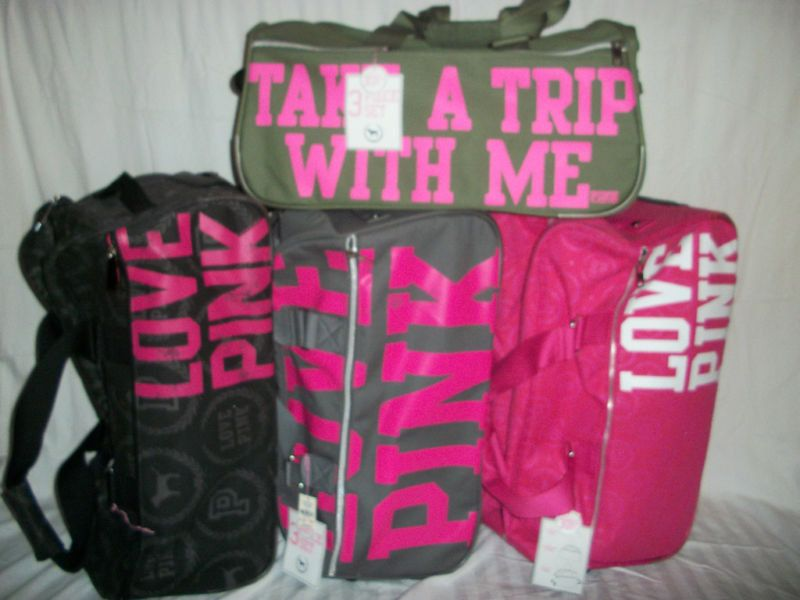 NWT Victoria's Secret Pink Travel Wheelie Luggage Bags (3 Piece ...