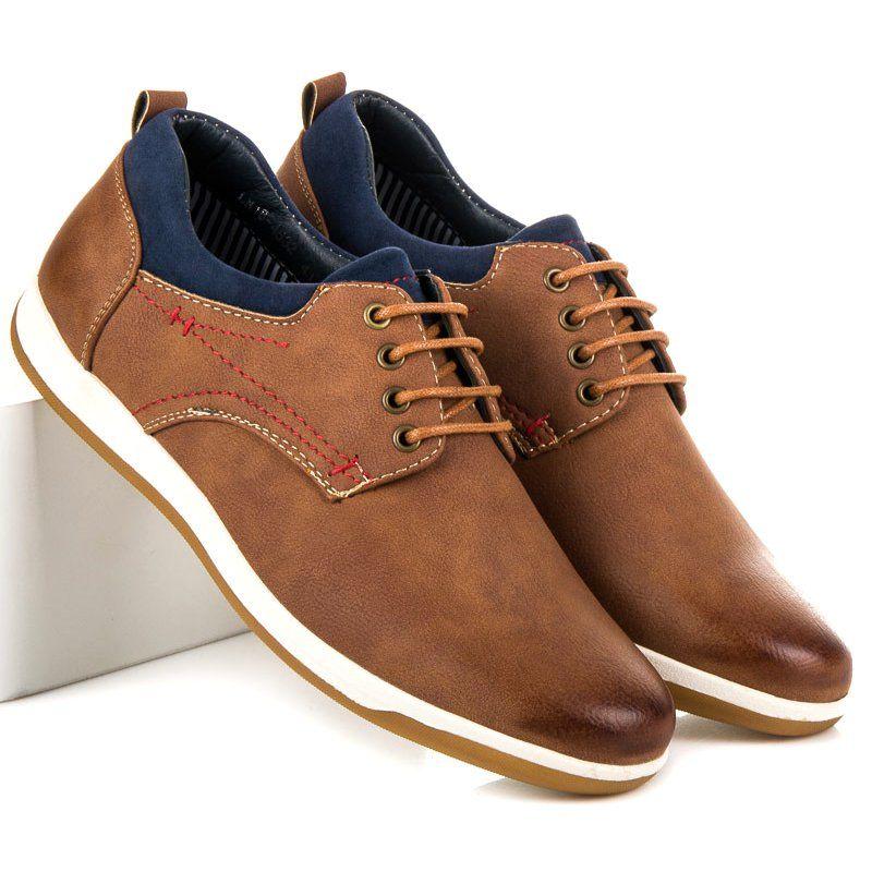 Mckeylor Brazowe Polbuty Casual Dress Shoes Men Dress Shoes Oxford Shoes