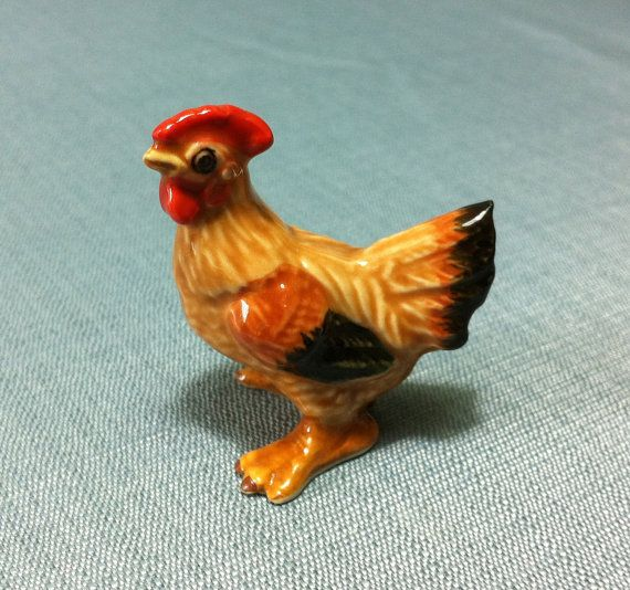 Miniature Ceramic Rooster Hen Chicken Animal Cute Little Tiny Etsy Ceramic Rooster Pet Chickens Rooster
