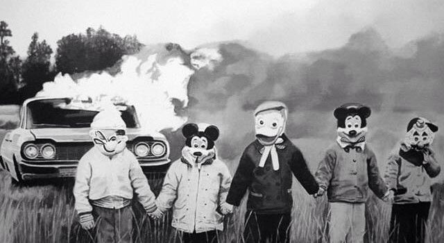 not sure what is more disturbing , the children or the car on fire