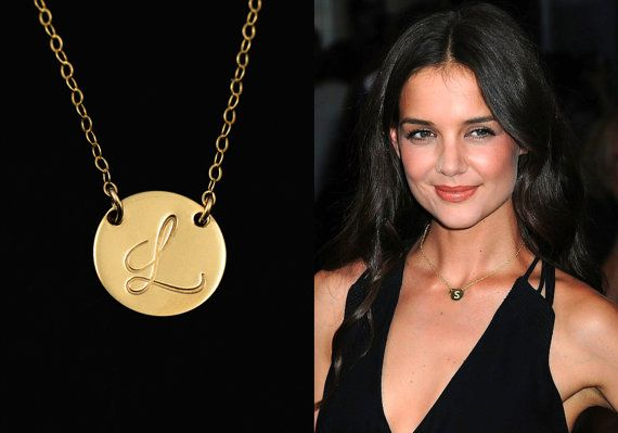 Initial necklace gold disc necklace personalized jewelry large initial necklace gold disc necklace personalized jewelry large initial charm necklace 12mm aloadofball Image collections