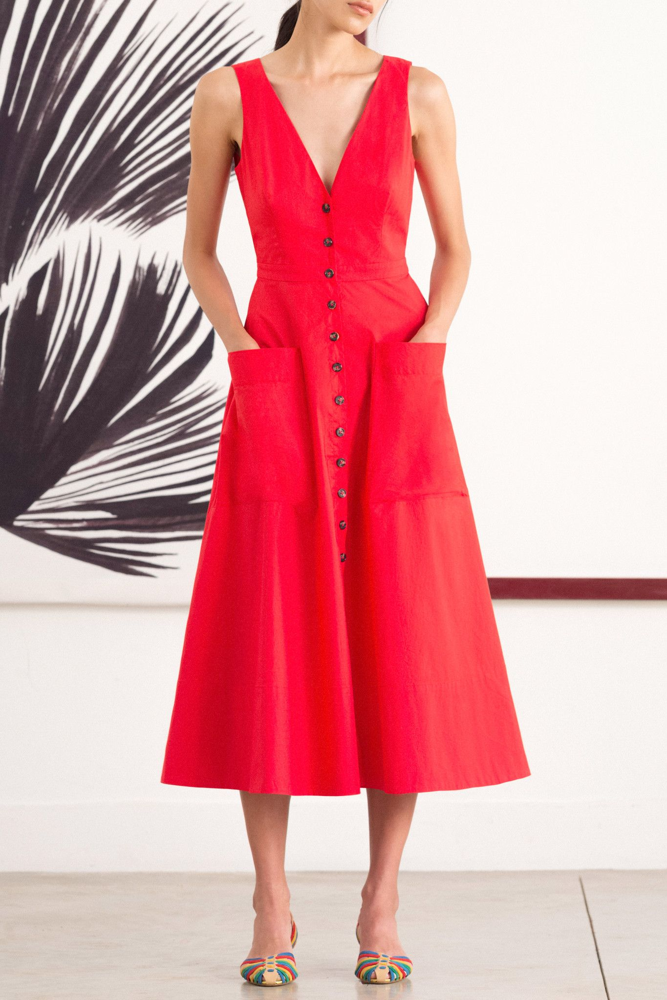 saloni ZOEY CHERRY RED COTTON DRESS from Saloni London | fashion ...