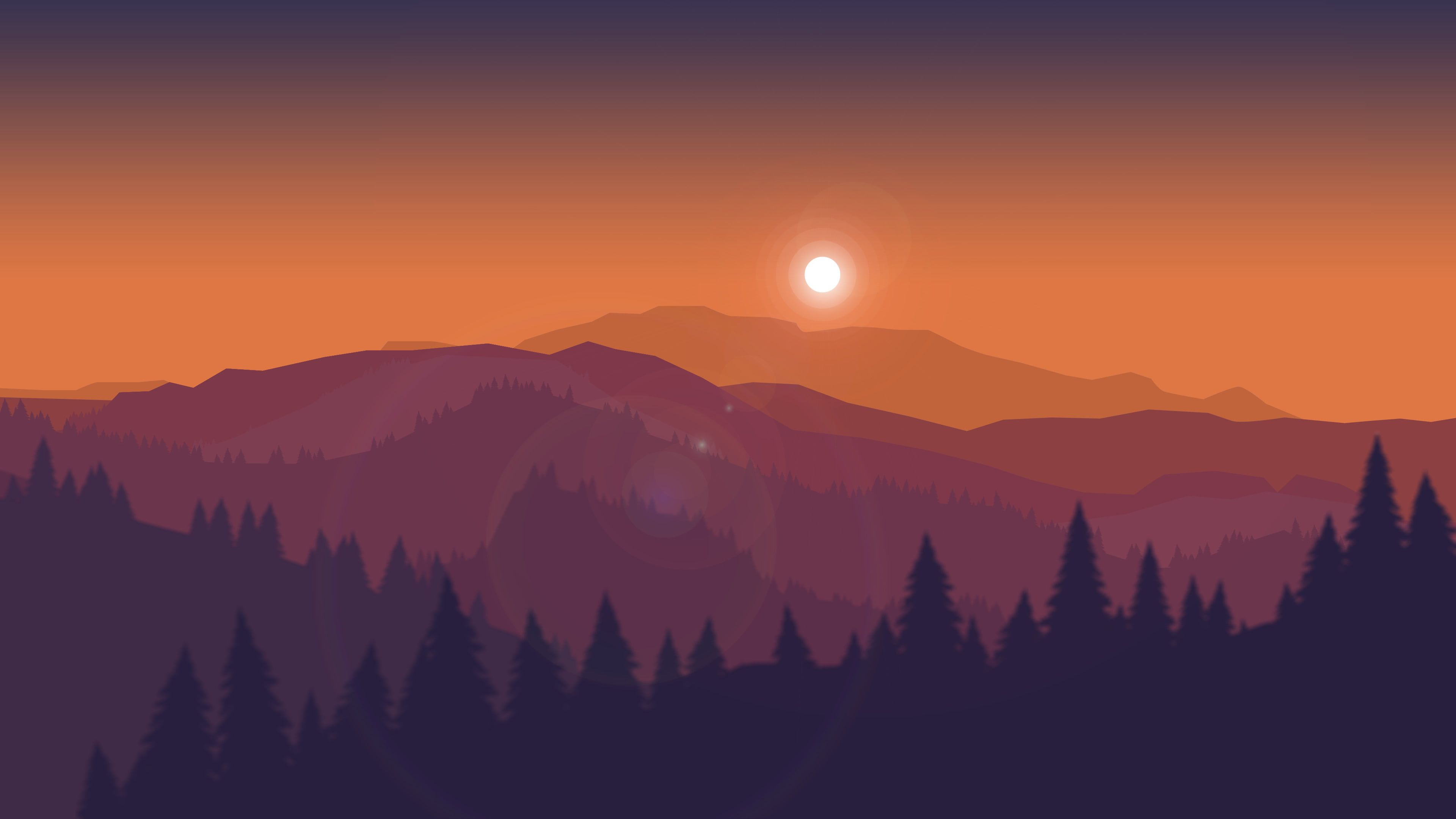 Sunset Mountains Firewatch Minimal Silhouette Hd 4k 4k Wallpaper Hdwallpaper Desktop Landscape Wallpaper Sunset Wallpaper Ipad Wallpaper Watercolor