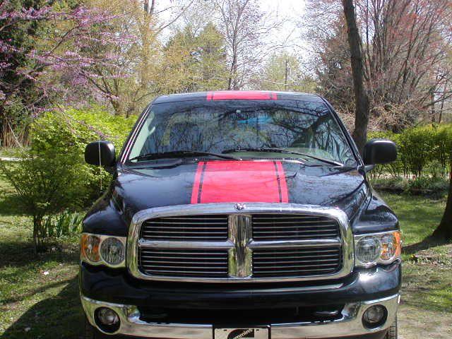 Black Dodge Ram Red Racing Stripe