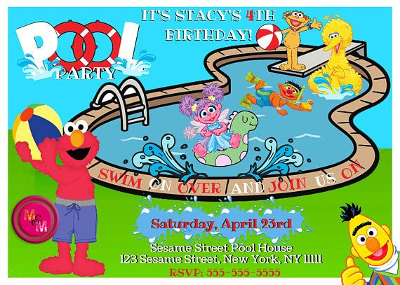 Sesame Street Pool Party Invitation Printable Personalized