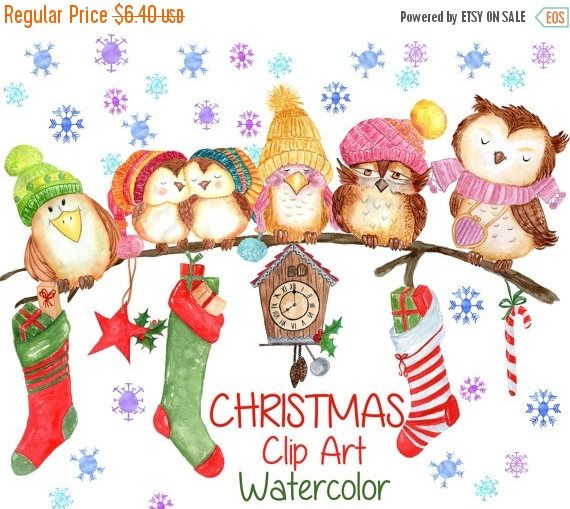 Watercolor Christmas Clipart Christmas Clip Art Cute Animals