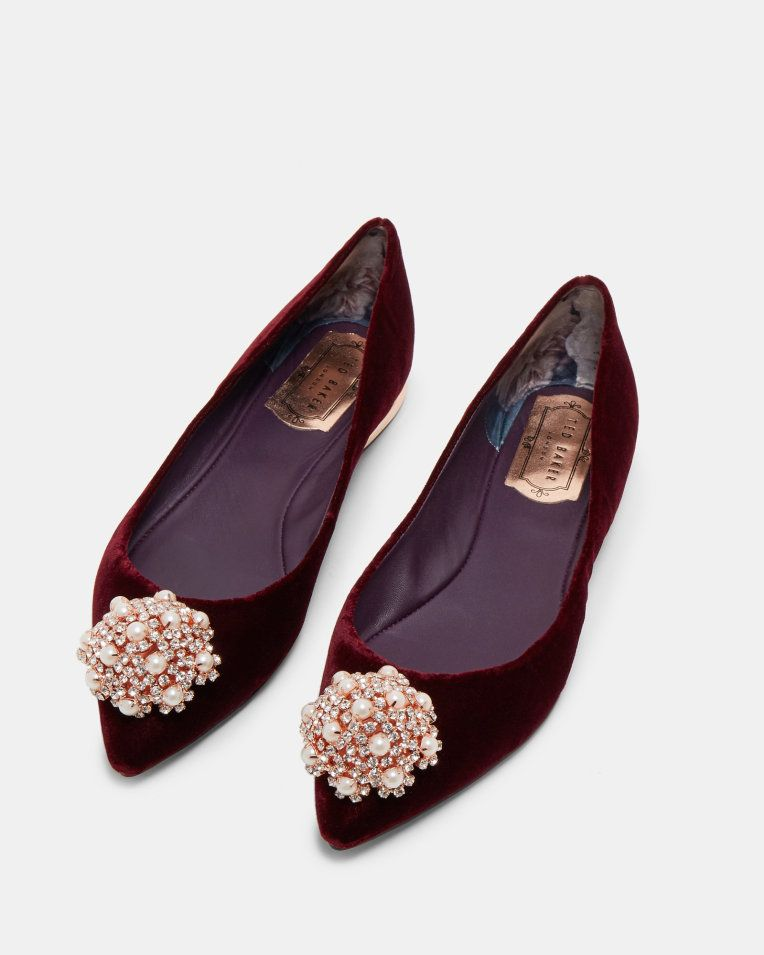 ed899eb0ad83ed Brooch detail velvet pointed pumps - Oxblood