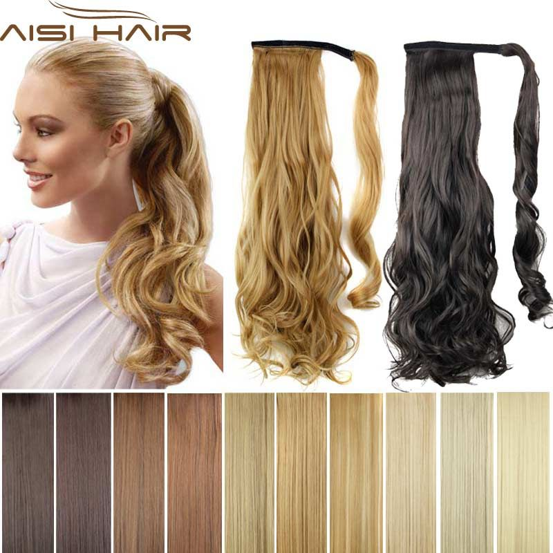 Save Onsynthetic Long Wavy Clip In Wrap Around Ponytail Fake Hair
