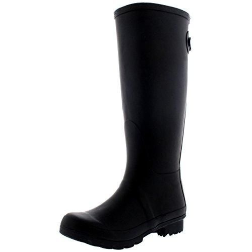 Mujer Adjustable Back Tall Invierno Lluvia Impermeable Botas De Agua - Negro - 36 MgwY9