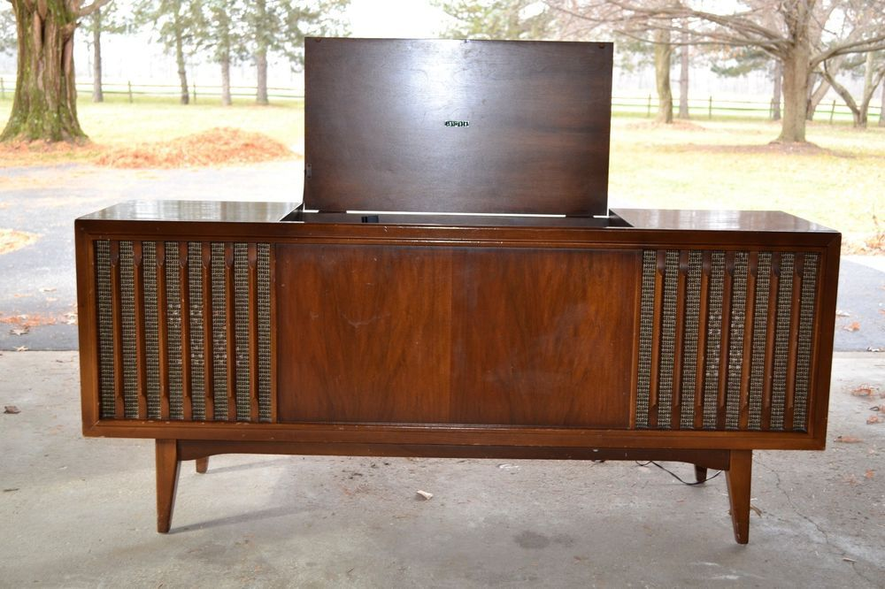 Vintage mid century zenith console stereo record player for Zenith sofa table