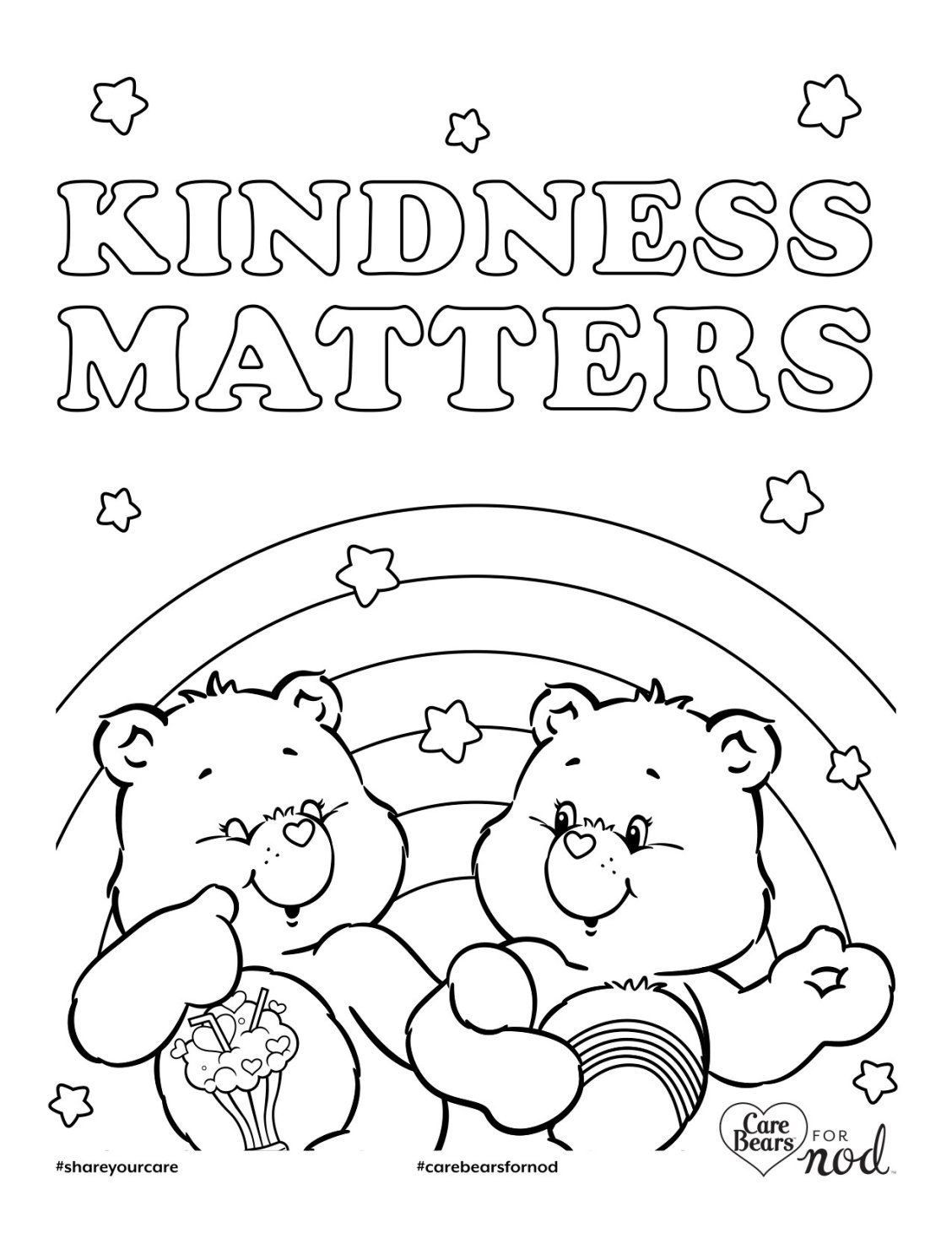 Share your care day printable care bears coloring pages care