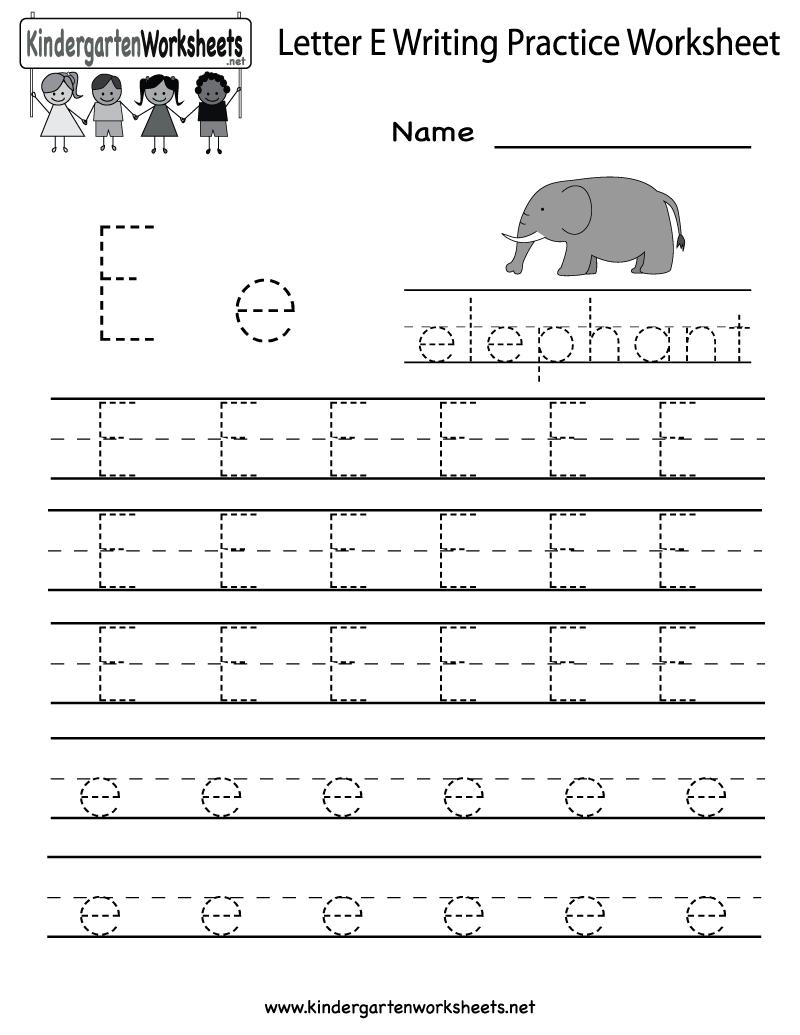 - Letter E Worksheets Kindergarten Writing Practice Worksheets