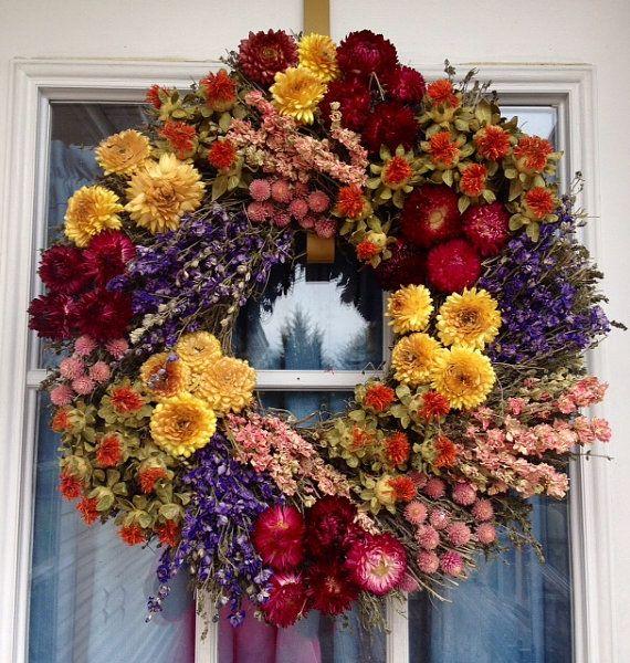 Indoor Wreaths Home Decorating: Summer Wreath, Dried Wreath, Herb Wreath, Spring Wreath