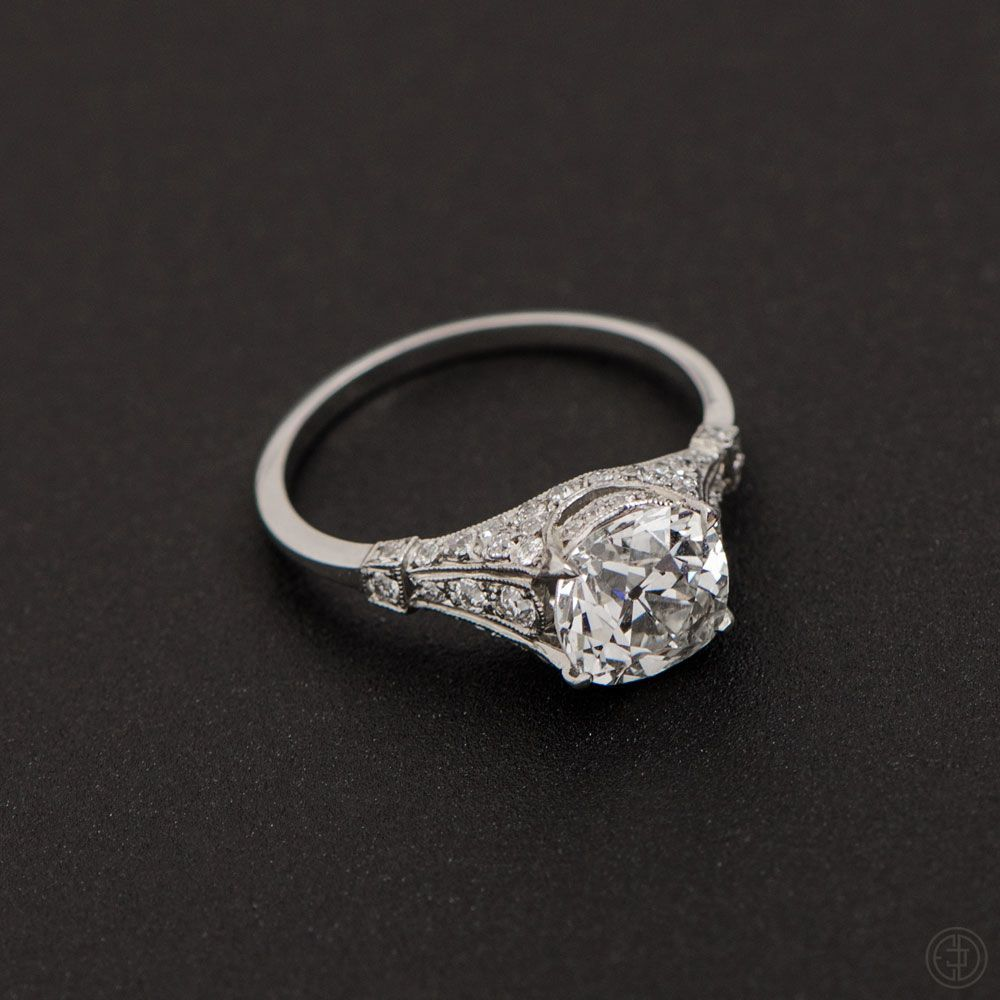 Old mine cut diamond engagement ring deco engagement ring