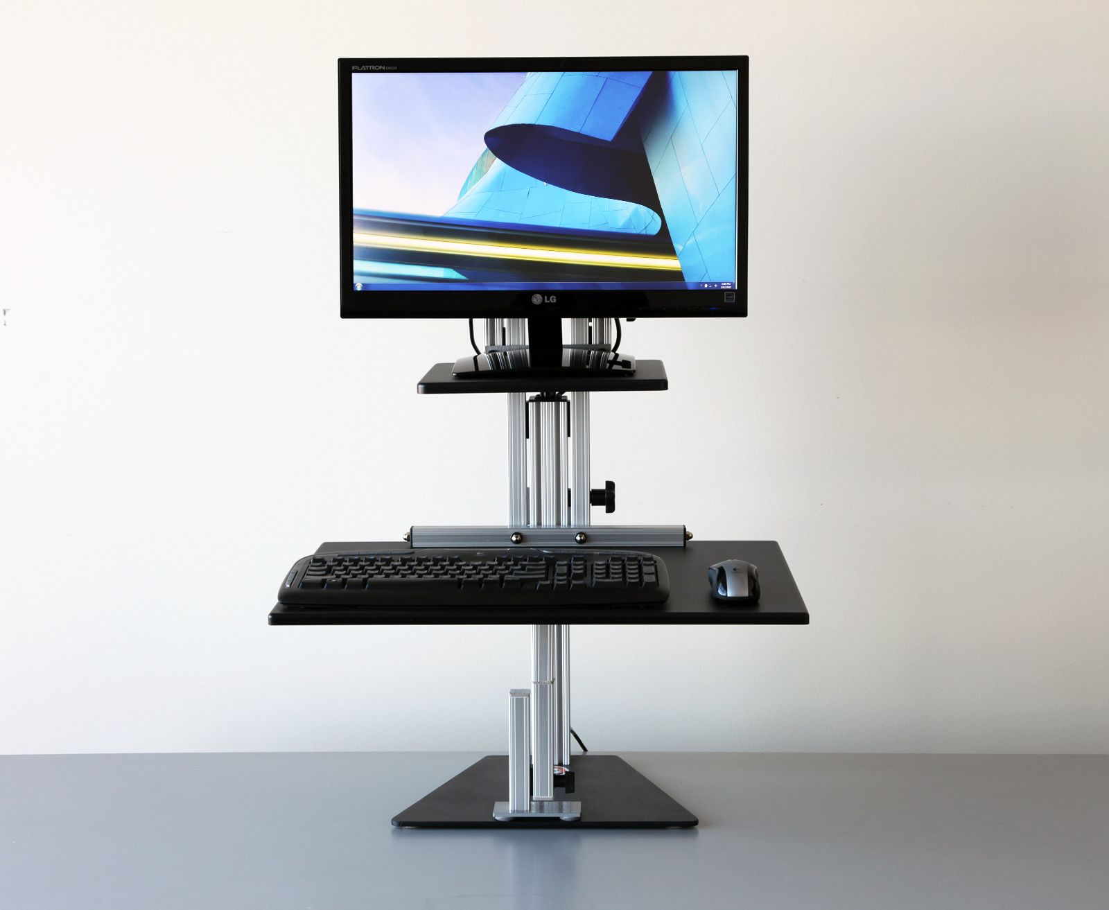 sit desk vivo riser adjustable height to converter gas standing stand spring tabletop pin