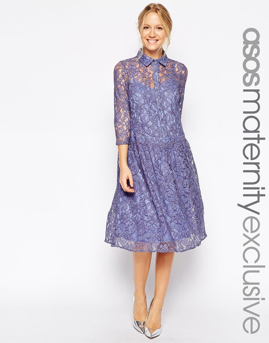 a265882229832 ASOS Maternity Shirt Dress with Drop Waist in Embroidered Lace - Lilac  $26.00 AT vintagedancer.com