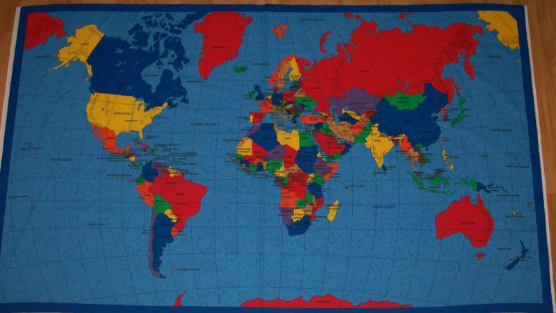A map of the world cotton quilting fabric panel fabric carte du 100 cotton craft fabrics ebay gumiabroncs Images