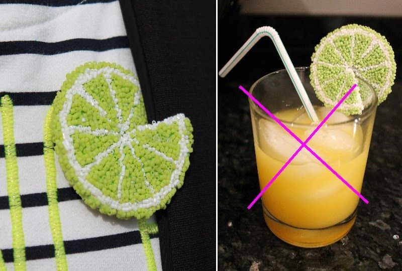 self-made lime brooch (made of Miyuki Delica beads embroidery) - looks like a cocktail garnish at a blazer