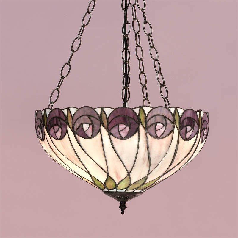 Lampada A Sospensione Tiffany Invertita Con Fiori Viola Foglie