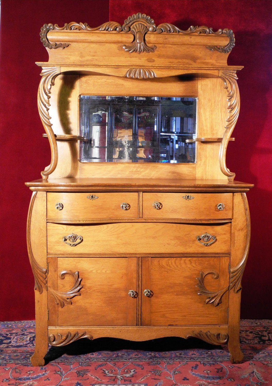 Antique Oak Sideboard with Mirror Wood Carvings Scroll Design Oak Sideboards Antique