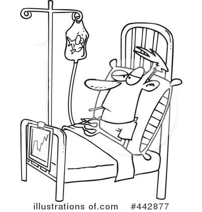 Cartoon Clipart Of A Black And White Sick Man With Thermometer In