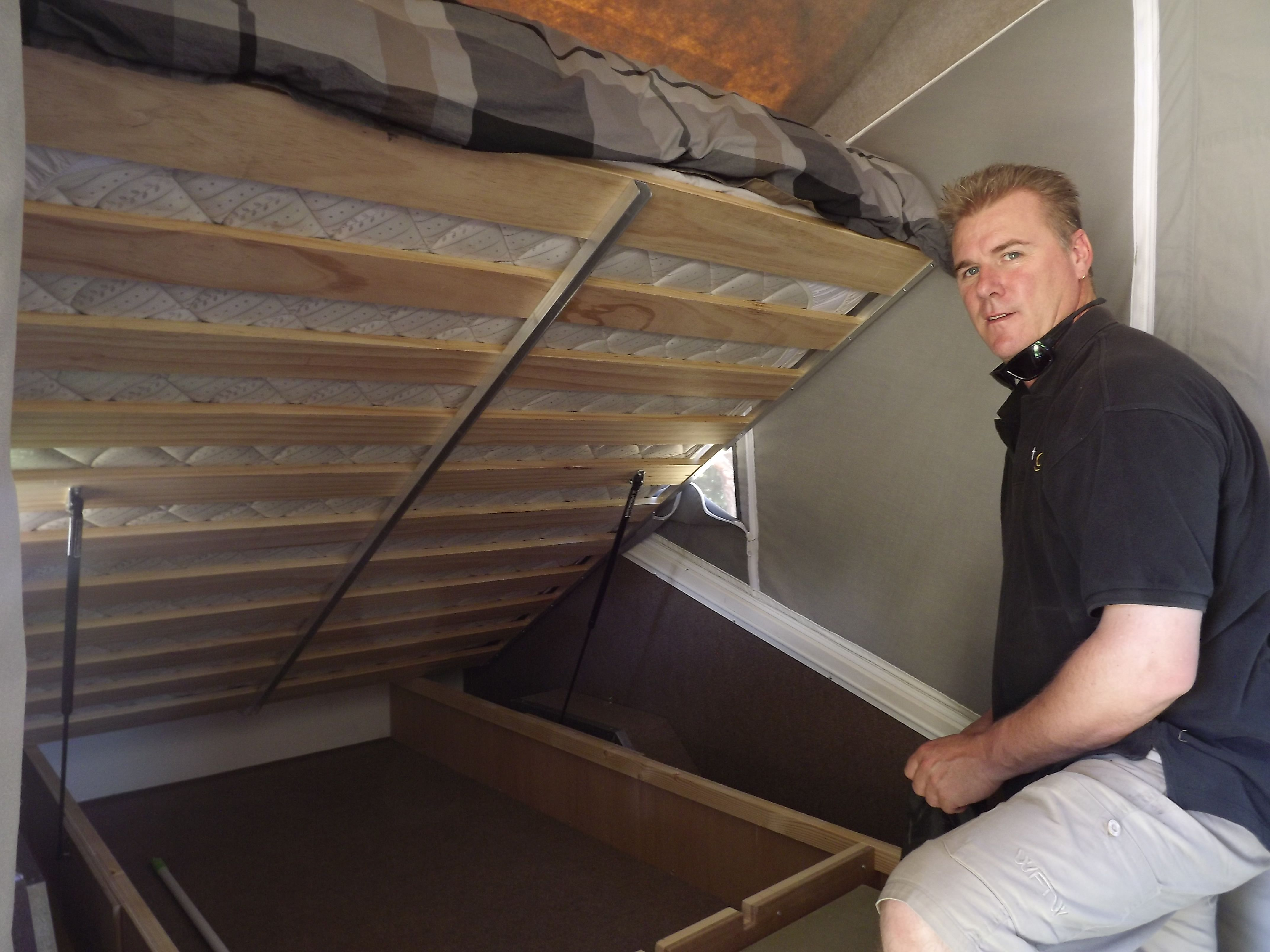 Ample storage under the bed .easily accessed with a quick lift assisted by gas struts.  sc 1 st  Pinterest & Ample storage under the bed ...easily accessed with a quick lift ...