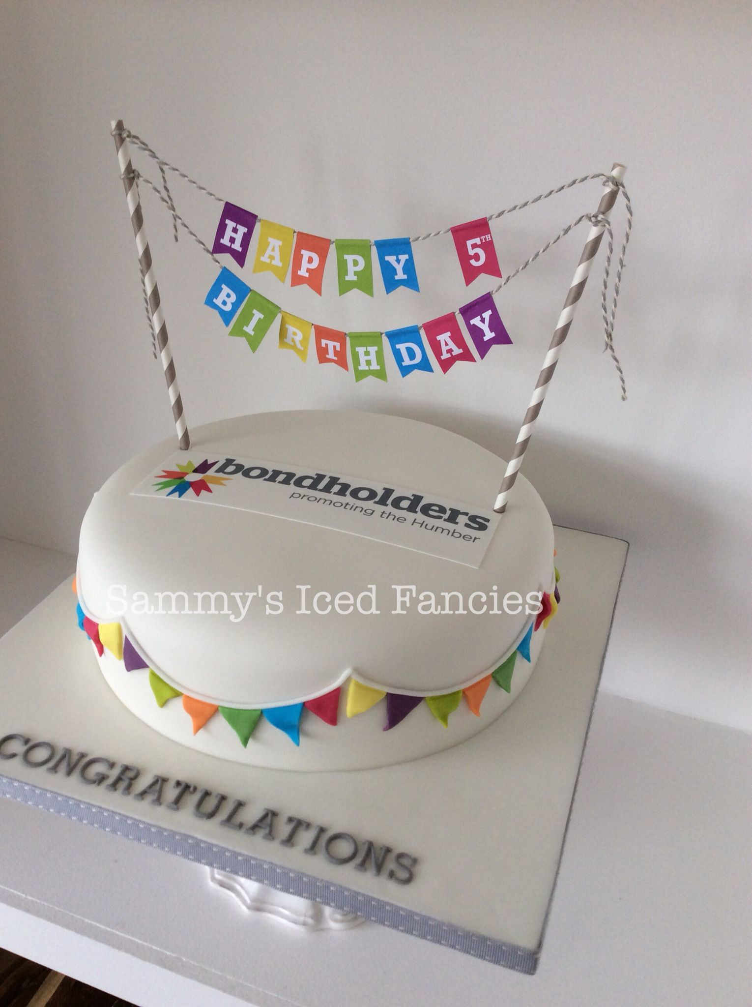 Corporate Birthday Cake With Paper Bunting My Cakes Pinterest